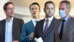 V.l.: Krainer, Blümel, Schmid, Löger (Bild: APA, AFP, Krone KREATIV)