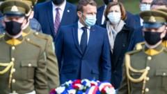 Der französische Präsident Emmanuel Macron weilt gerade auf Staatsbesuch in Litauen, wo sich Tichanowskaja derzeit aufhält. (Bild: AP)