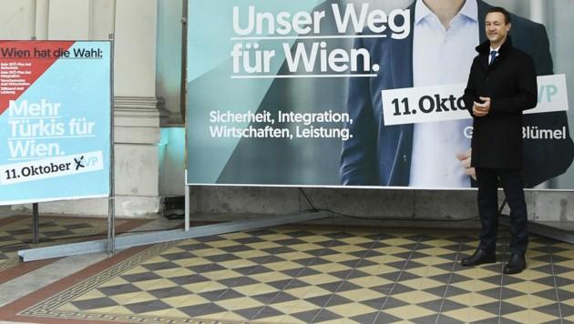ÖVP-Spitzenkandidat Gernot Blümel während der Plakat-Präsentation (Bild: APA/Robert Jäger)
