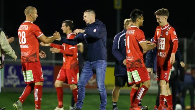 Coach Plassnegger und die Rotjacken können jubeln. (Bild: GEPA)