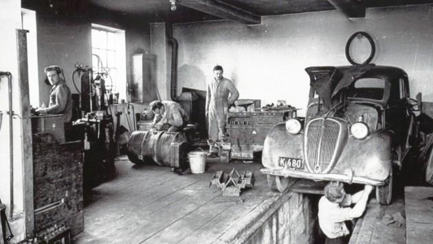 Blick in die Autowerkstatt der Firma Rumwolf in Klagenfurt. (Bild: Kärntner Landesarchiv)