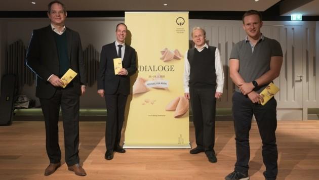 Tobias Debuch, Andreas Fladvad-Geier, Stefan David Hummel und Multipercussionist Christoph Sietzen (v.l.) präsentierten das Programm. (Bild: Wolfgang Lienbacher)