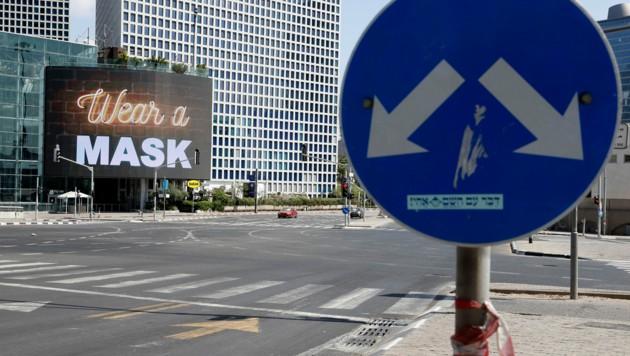 Menschenleere Straßen in der Stadt Tel Aviv als Folge des Lockdowns in Israel (Bild: APA/AFP/Jack Guez)