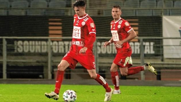 Thomas Fink (am Ball) ist bisher mit drei Toren erfolgreichster Schütze des GAK. (Bild: Sepp Pail)