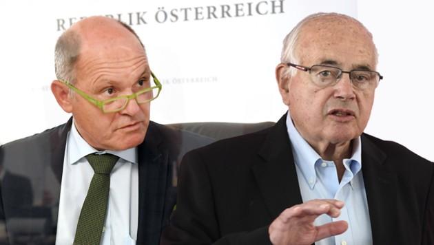 Der Ausschuss-Vorsitzende Wolfgang Sobotka, Heinreich Neisser (re.) (Bild: APA/Roland Schlager APA/Harald Schneider, Krone KREATIV)
