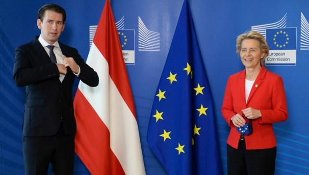 Ursula von der Leyen und Sebastian Kurz beim EU-Gipfel in Brüssel (Bild: Associated Press)