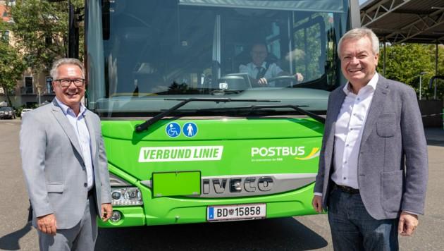 Verkehrsverbund-Geschäftsführer Peter Gspaltl, LH-Stv. Anton Lang (re.) (Bild: Harry Schiffer)
