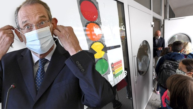 Egal, welche Farbe der Bezirk hat: Die Schul-Ampeln stehen seit Beginn auf Gelb. Bildungsminister Faßmann kündigt einheitliche Verfahrensregeln an. (Bild: APA, Krone KREATIV)