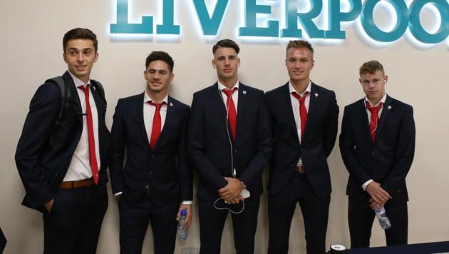 Albert Vallci, Patrick Farkas, Dominik Szoboszlai, Jasper van der Werff und Kilian Ludewig (v. li.) (Bild: GEPA pictures)