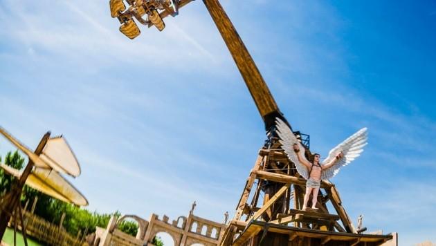 Leonardos Flugmaschine ist eine Hauptattraktion im Park (Bild: Martin Matula)