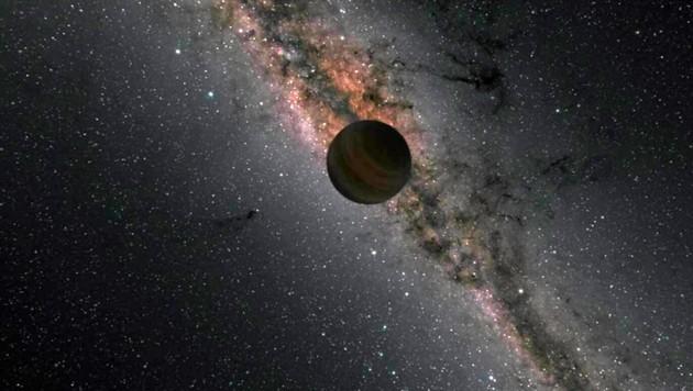 Künstlerische Darstellung eines sogenannten Schurkenplaneten (im Hintergrund ist die Milchstraße zu sehen) (Bild: NASA/JPL-Caltech/R. Hurt)