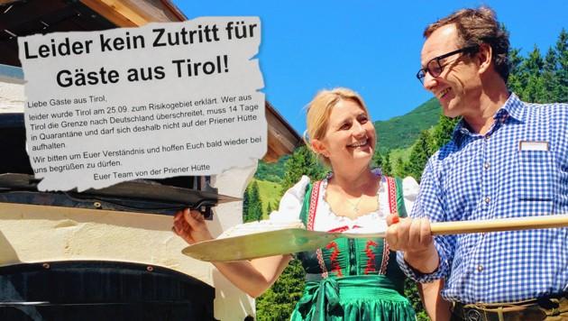 Monika und Andreas, die Wirte der Priener Hütte, bitten ihre Gäste aus Tirol um Verständnis und hoffen sehr, sie bald wieder begrüßen zu dürfen. (Bild: Priener Hütte, Krone KREATIV)