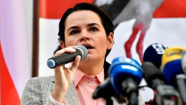 """""""Oppositionspräsidentin"""" Swetlana Tichanowskaja (Bild: APA/AFP/JOHN THYS)"""