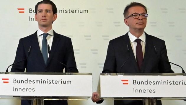 An vorderster Corona-Front: Kanzler Kurz (li.), Minister Anschober (Bild: APA/HERBERT P. OCZERET)