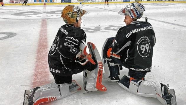 Gestern trainierte Olivier Rodrigue (re.) erstmals am Grazer Eis. Mit Felix Nussbacher (l.) kämpft er um die Nummer eins. (Bild: Michael Gratzer)