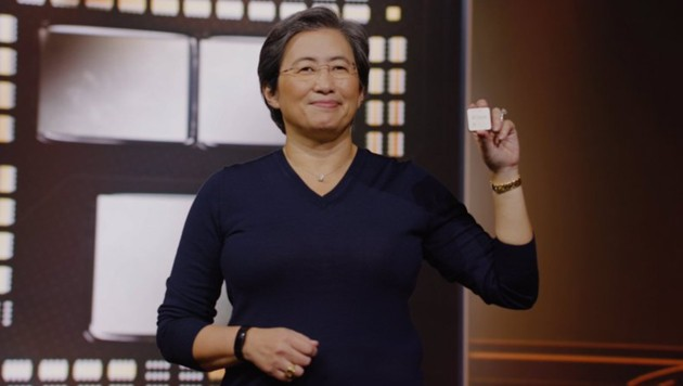 AMD-Chefin Lisa Su präsentiert den neuen Ryzen-5000-Prozessor. (Bild: AMD)