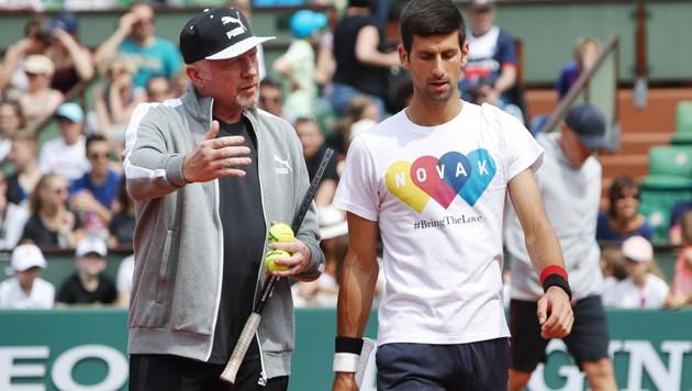 Boris Becker (li.) und Novak Djokovic (Bild: GEPA )