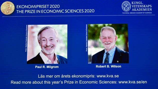 Die US-Ökonomen Paul R. Milgrom und Robert B. Wilson (Bild: AP)