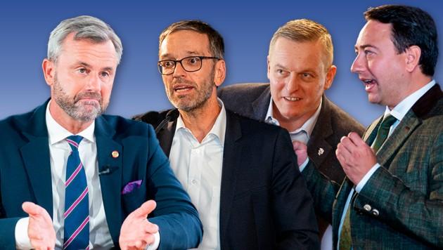 Die FPÖ-Granden Norbert Hofer, Herbert Kickl, Mario Kunasek und Manfred Haimbuchner (Bild: APA, Krone KREATIV)