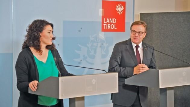 LHStv. Ingrid Felipe und LH Günther Platter reagieren auf den Ischgl-Bericht. (Bild: Christof Birbaumer Kronenzeitung)
