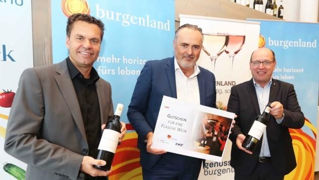 Tunkel, Doskozil und Liegenfeld stellten neue Aktionen für den Tourismus vor. (Bild: Judt Reinhard)