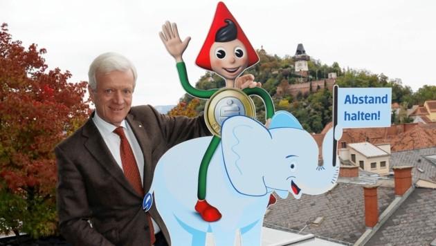 Der Steiermärkische-Vorstandsvorsitzender Gerhard Fabisch mit dem beliebten Sparefroh (Bild: Christian Jauschowetz)