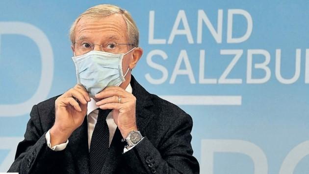 Landeshauptmann Wilfried Haslauer fordert die Salzburger auf, an des Massentests teilzunehmen. (Bild: www.picturedesk.com/Barbara Gindl)