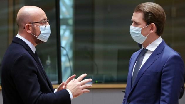 Charles Michel und Sebastian Kurz (Bild: AP)