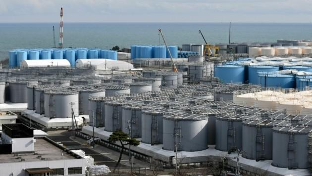 In diesen Tanks wird das radioaktiv verseuchte Wasser gelagert. (Bild: APA/AFP/Kazuhiro Nogi)