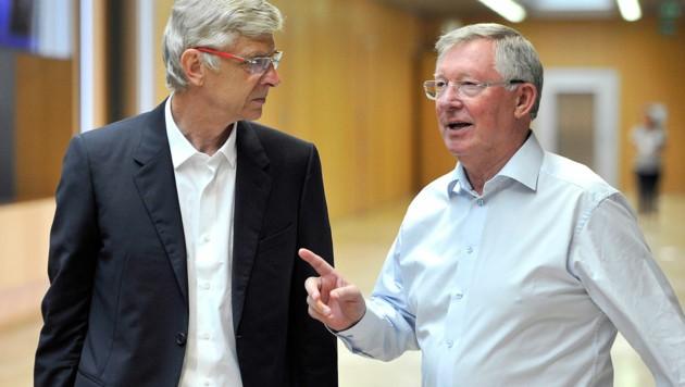 Arsene Wenger (li.) und Alex Ferguson: Bei aller Rivalität respektierten und wertschätzten die beiden Trainer-Sirs einander stets. (Bild: UEFA)