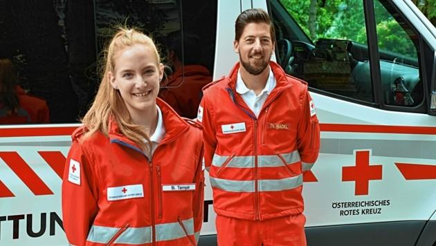 Heute sind sie Kollegen: Barbara Tampir und Thomas Hackl (Bild: RKNÖ/Fabian Kaiser)