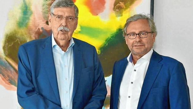 Big Player: Norbert Steger (links) und ORF-Boss Alexander Wrabetz (Bild: ORF)