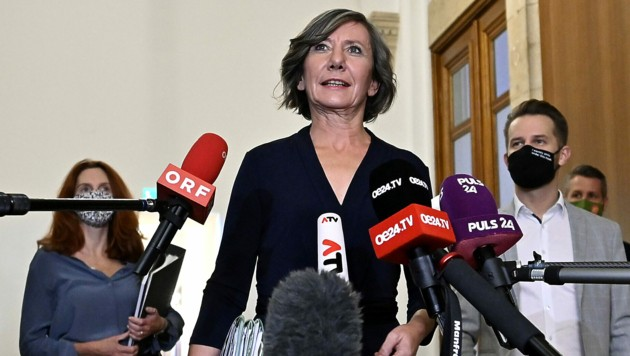 Vizebürgermeisterin Birgit Hebein (Grüne) vor dem Sondierungsgespräch mit der SPÖ (Bild: APA/HERBERT NEUBAUER)