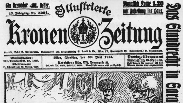 """Die """" Illustrierte Kronen Zeitung"""" berichtete 1914 über das Attentat auf Thronfolger Franz Ferdinand. (Bild: Krone)"""