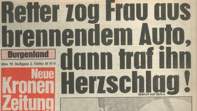 Die Schlagzeile der ersten echten Burgenland-Ausgabe. Erschienen am 7. April 1986. (Bild: Krone Archiv)