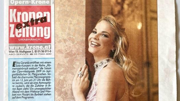 """Die """"Opern-Krone"""" ermöglichte 2009 einen einmaligen Blick hinter die Kulissen. Am Cover der Sonderausgabe: Opernstar Elīna Garanča. (Bild: Grammer Karl)"""