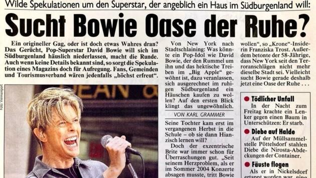 Im Jahr 2005 machten Gerüchte die Runde, Weltstar David Bowie wolle ins Südburgenland ziehen. (Bild: Karl Grammer)