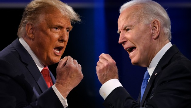 US-Präsident Donald Trump im Duell mit Joe Biden. (Bild: APA/AFP/Brendan Smialowski, APA/AFP/JIM WATSON, Krone KREATIV)