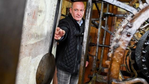 Einer der drei Türmer in Steyr: Alexander Stereb (Bild: Dostal Harald)