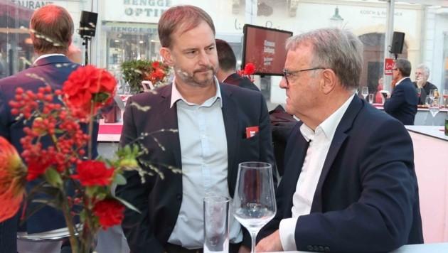 SPÖ-Landesgeschäftsführer Roland Fürst mit Alt-Landeschef Hans Niessl. (Bild: Judt Reinhard)