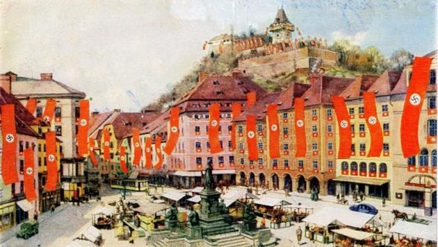Hauptplatz beflaggt mit NS-Fahnen: Dieses Bild wurde Adolf Hitler bei seinem Graz-Besuch als Geschenk überreicht. (Bild: Sammlung Karl Kubinzky)