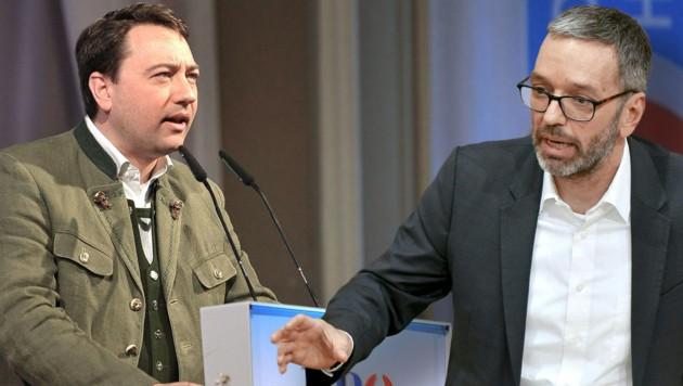 Oberösterreichs Landeshauptmann-Stellvertreter Manfred Haimbuchner (FPÖ) und FPÖ-Klubobmann Herbert Kickl (Bild: APA (2), Krone KREATIV)