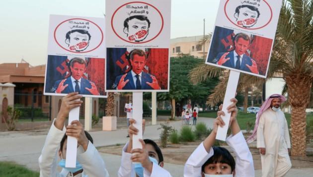 Proteste gegen Frankreich und Präsident Macron in Kuwait (Bild: AFP)