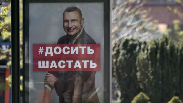 Vitali Klitschko krempelte im Wahlkampf die Ärmel hoch. (Bild: Sergei SUPINSKY/AFP)