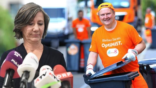 Michael Ludwig arbeitete im Wahlkampf einen Tag lang bei der MA 48 - und dort ist er wohl auf den Geschmack gekommen. Der Bürgermeister entsorgte die Grünen mit ihrer Chefin Birgit Hebein. (Bild: APA, Peter Tomschi, Krone KREATIV)