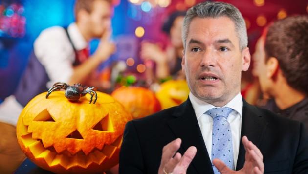 Innenminister Karl Nehammer (ÖVP) appelliert an die Bevölkerung, zu Halloween zu Hause zu bleiben. (Bild: APA, stock.adobe.com, Krone KREATIV)