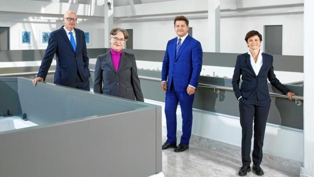 Von links: Reinhard Stauber, Martina Merz, Oliver Vitouch, Doris Hattenberger. (Bild: Johannes Puch)