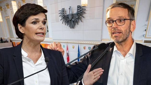 SPÖ-Chefin Pamela Rendi-Wagner und FPÖ-Klubchef Herbert Kickl (Bild: APA, Krone KREATIV)