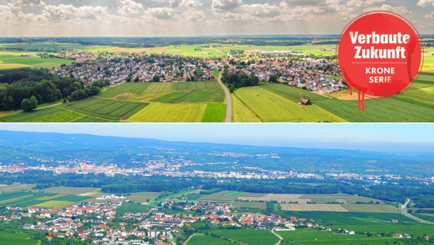Im Süden Deutschlands herrscht Ordnung (oben): Auf dem Land entstehen nur Straßen, die absolut nötig sind, bei uns sieht es anders aus (unten) (Bild: stock.adobe.com, Krone KREATIV)