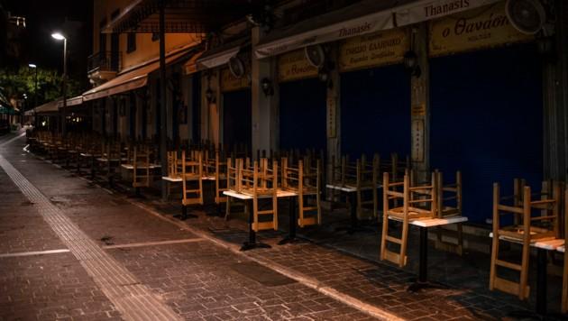 Restaurants am sonst so belebten Monastiraki-Platz in Athen haben geschlossen. (Bild: AFP)